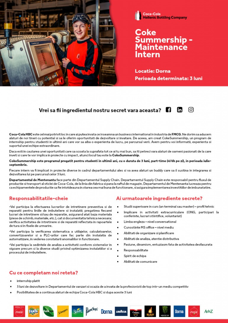 Maintenance Intern @ Coke Summership